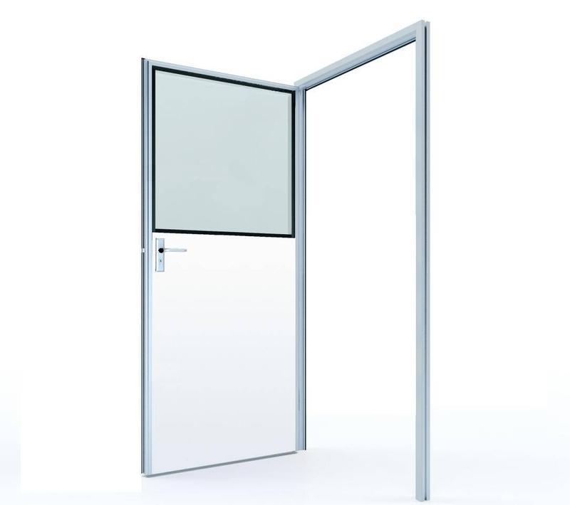 #50 Half glass swing door with colored GI panel (door leaf thickness 50mm)